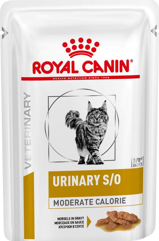 ROYAL CANIN URINARY S/O MODERATE CALORIE (кусочки в соусе) - Диета для кошек после кастрации/стерилизации или при предрасположенности к избыточному весу при лечении мочекаменной болезни